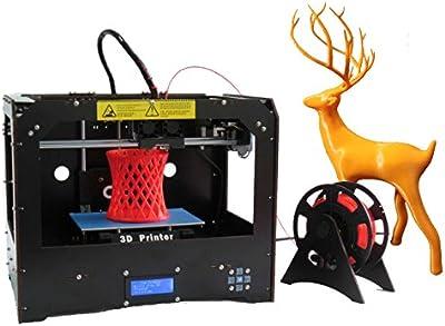 Impresora 3D con doble extrusor, incluye filamento ABS/PLA de 1 x 1,75 mm, color negro