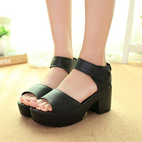 LHWY Damen Open Toe Peep Toe Platform High Heel Gladiator Sandalen Chunky shoes Schwarz