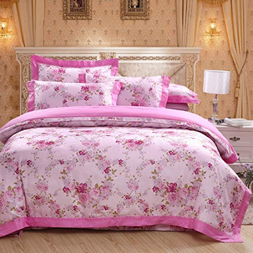 WAVENI Einfache Baumwollsatinfarbe Baumwoll-Hohlsaum-Jacquard-Bettwäsche 4-teiliges Set (Color : Pink, Size : Queen) -
