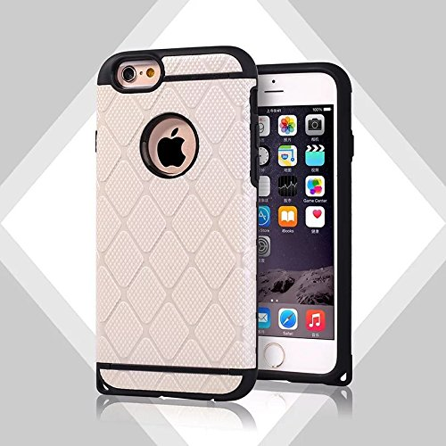 "Iphone 6S (4.7 "") Coque,Lantier 2 en 1 souple Silicagel + PC double couche hybride d'or Armure design antichoc souple Hard Cover Defender pour Apple Iphone 6S (4.7"") or rose Gold Armor White"