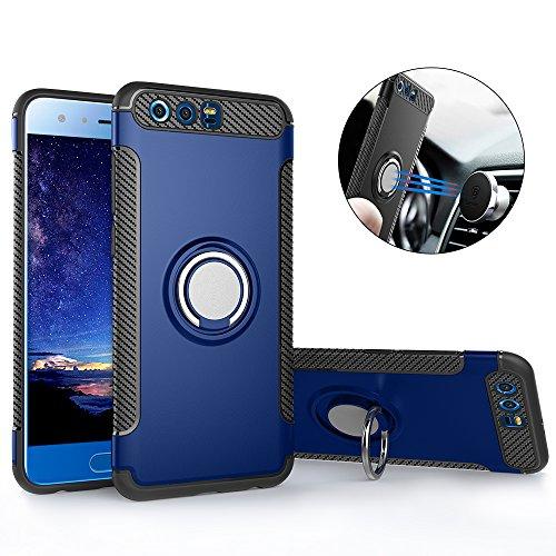 Huawei Honor 9 Hülle ,Honor 9 Handyhülle mit Ring Kickstand - Mosoris Premium Silikon Shell mit 360 Grad Drehbarer Ständer und Handyhalterung Auto Magnet Ring , Dual Layer Stoßfest Rüstung Schutzhülle Bumper Tasche Case Cover für Huawei Honor 9 , Blau