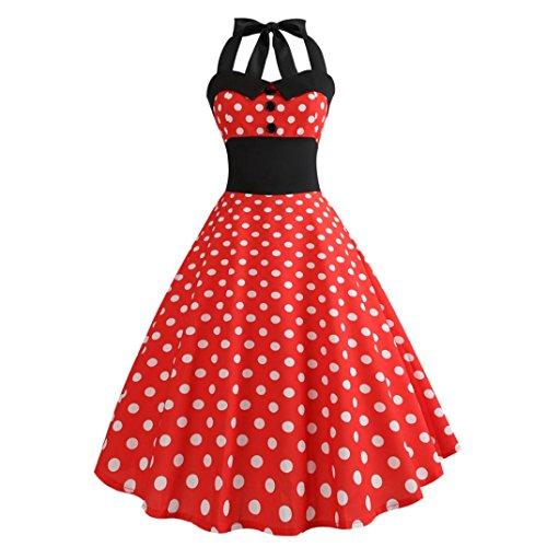 (Xmansky Frauen Audrey Hepburn Vintage Kleid, 50er Jahre 60er Jahre Retro White Polka Dot ärmelloses Halfter Bodycon Abendgesellschaft Prom Swing Dress (S, Rot))