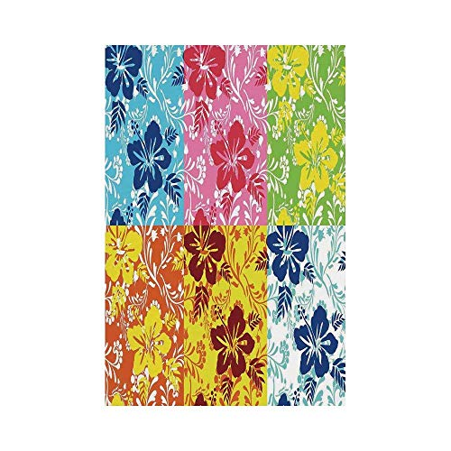 Flag Banner Hawaiian Tropical Colorful Blooming Hibiscus Flower Summer Themed Pattern with Leaves Blue Red Greenor Decorative Garden Flag for Outdoor Lawn and Garden Home ()