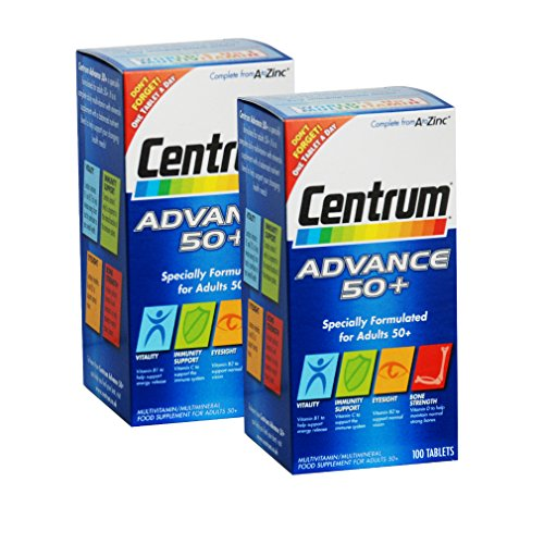 2 Packs Of Centrum Advance 50 Plus - 100 tablets = TOTAL 200 Tablets -