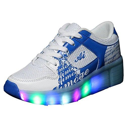 iBaste Mode Chaussures de tu marcheras rapide lacets Lampe LED roues automatique EU31 ( largo 20.5cm ) bleu bleu