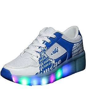 iBaste Zapatos de caminar rápido cordones lámpara LED ruedas automático para chicos chicas