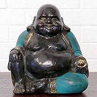Bronzefigur 'Happy Buddha' mit grünem Gewand