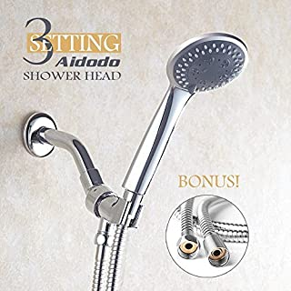 Shower Head Aoleca 3 Settings Showerhead with Shower Hose Premium High Pressure Built with Durable Material for Home and Hotel Chrome Face by Aoleca