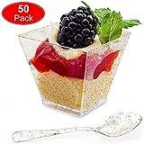 Aitsite 50 Pack Tazas de Postre Plástico con Cucharas Desechables Brillo de Oro Parfait Copas Tasting...