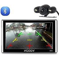Xgody 826BT - Navegador GPS para coche con 6 metros de cámara de seguridad de 7 pulgadas 256 MB / 8 GB, pantalla táctil capacitiva con parasol, GPS NAV, ...