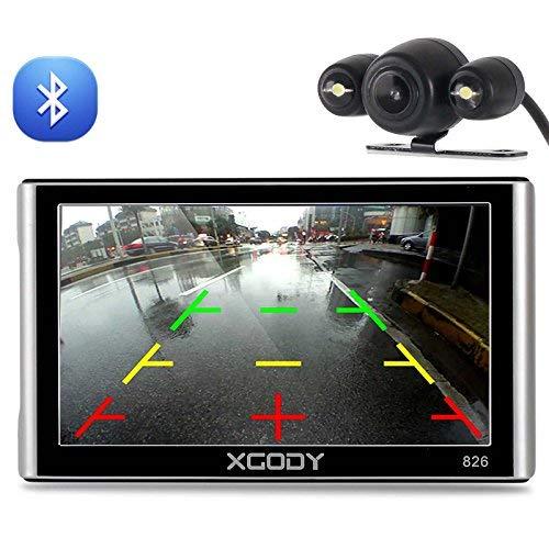 Xgody 826BT - Navegador GPS para coche con 6 metros de cámara de seguridad de 7 pulgadas 256 MB / 8 GB, pantalla táctil capacitiva con parasol, GPS NAV, actualizaciones de mapas de por vida, límite de velocidad, muestra las instrucciones de giro de la dirección