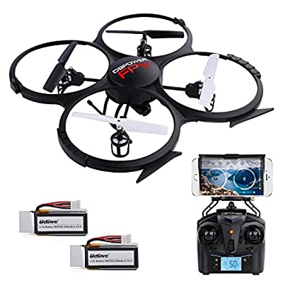 Improved WiFi Drone with 2MP HD FPV Camera APP Control UDI U818 A RC Quadcopter Head Mode Drone with 2 Batteries by Db Dbpower