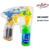 infactory - Pistola de pompas de jabón con ledes (incluye 2 recambios de jabón)