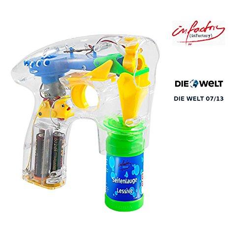 infactory Seifenblasen Pistolen: Seifenblasenpistole mit LEDs inkl. 2x Seifenblasenlösung (Seifenblasen Spielzeugpistolen)