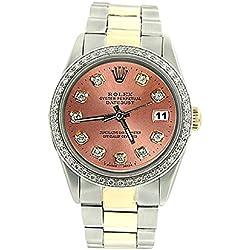 Rolex date just brown diamond men watch oyster bracelet two tone
