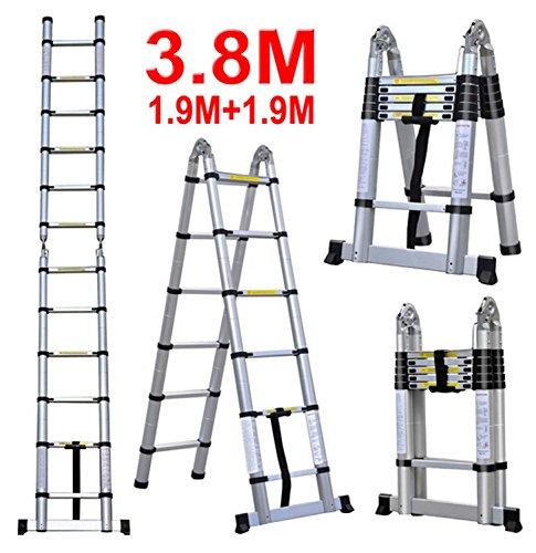 J&A DIY Doppelte Teleskopische Faltbare Leiter, 3.8m Ausdehnbare Bewegliche Mehrzweckleiter Aluminium, Schritt 2 * 6 Mit Anti-Beleg (Belastbarkeit 150kg/330 Lbs)
