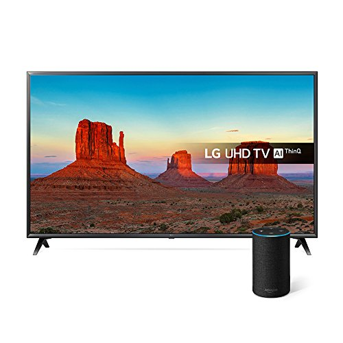LG 65UK6300PLB 65-Inch UHD 4K HDR Smart LED TV with Freeview Play - Black (2018 Model) with All-new Amazon Echo (2nd generation), Charcoal Fabric Bundle
