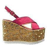 Angkorly - damen Schuhe Sandalen Mule - Plateauschuhe - Kork - fantasy - golden Keilabsatz high heel 12.5 CM - Fushia - 3