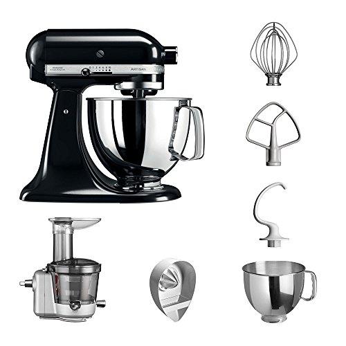 KitchenAid Küchenmaschine | VORTEILS SET | Artisan 5KSM125PS Entsafter Paket | inklusive Entsaftervorsatz, Zitronenpresse und Standardzubehör (Onyx Schwarz)