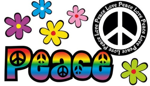 Diseño Floral Pegatinas - Amor y paz del arco iris - Love and Peace 0