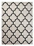 Orientalisches Marokkanisches Teppich - Dichter und Dicker Flor Modern Designer Muster - Ideal Für Ihre Wohnzimmer Schlafzimmer Esszimmer - Weiß Grau - 200 x 290 cm Casablanca Kollektion von Carpeto