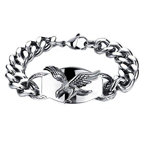 Onefeart Edelstahl Armband Für Männer Junge Eagle Design Punk Stil Anti Allergie 22CM Silber