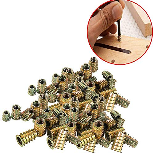 Wohlstand100 pcs/bolsa Rosca Hex Socket,Aleación Zinc Insertos de RoscaM4*10mm/M5*10mm/M6*12mm/M8*14mm,Carpintería Madera Kit de...
