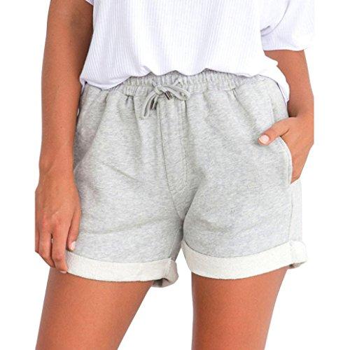 Kurzehose Damen,Sonnena Sommer Mode Frauen Hohe Taille Solide Shorts Mini Hosen Damen Lässig Tie up Hotpants Mädchen Dünn Sporthosen Sport Workout Fitness Kurze Hose (S, Grau Sexy)