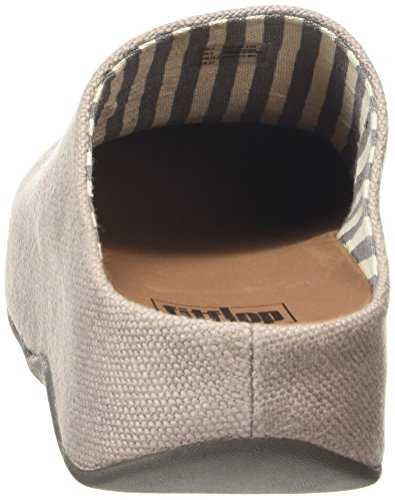 FitFlop Shuv Linen Damen Clogs Grey (Charcoal 052)