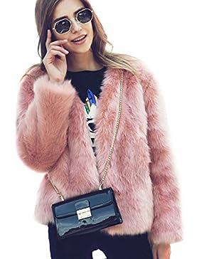 Fastar mujeres chaqueta abrigo de piel sintética para señora