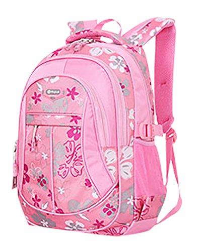 SellerFun® Kid Child Girl Flower Printed Waterproof Backpack School Bag(Pink,Large)