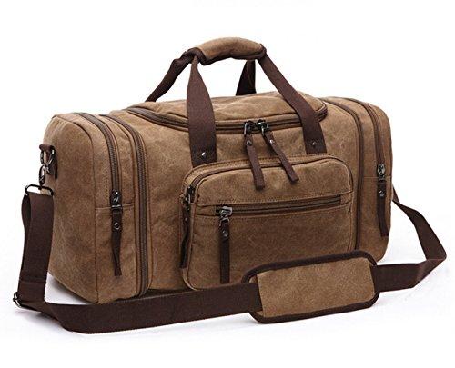 happytimebelt 53,3cm Leinwand Leder Trim Travel Tote Duffel Handtasche Weekender Größe L Coffee - Handtaschen Bradley Aus Vera Leder