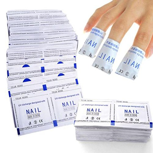 SBE New Nail Polish Remover Wraps, Nail Art Soak Off Finger Cap Clip Polish, Acrylic Cleanser Pads, Manicure Cleaning Tools (100 Pcs)