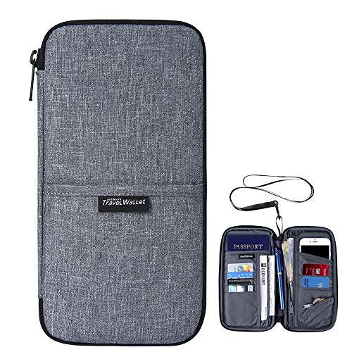Wasserdicht Reiseorganizer Ausweistasche mit RFID Schutz-Evershop Reiseorganizer Reisepass Tasche Reisepass Mappe mit Handschlaufe für Pass, Kreditkarten, Flugkarten,Münzen und andere Reise-Zubehör