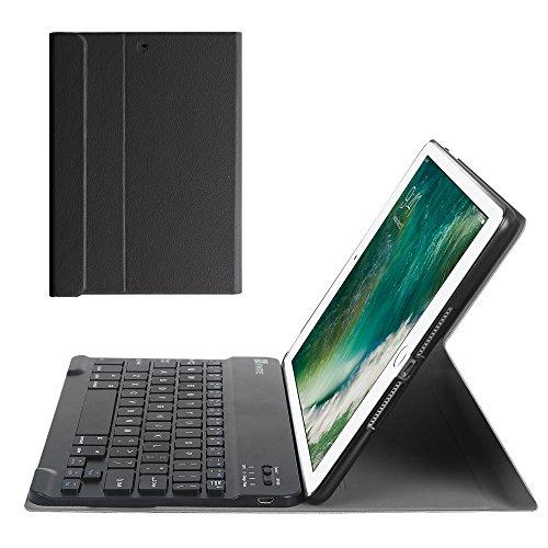 Fintie iPad 9.7 Zoll 2018 2017 / iPad Air 2 / iPad Air Tastatur Hülle Keyboard Case - Ultradünn leicht SlimShell Ständer Schutzhülle mit magnetisch abnehmbarer drahtloser deutscher Bluetooth Tastatur, Schwarz