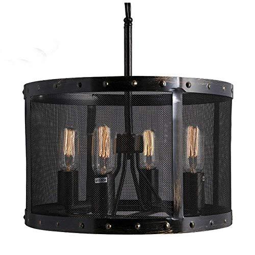 W-LI Pendent Lamp Industry Retro Vintage Style Kronleuchter in Trommelform Deckenleuchte Schwarz 4 Fertige Licht (Wandleuchte Fertig Glühlampe)