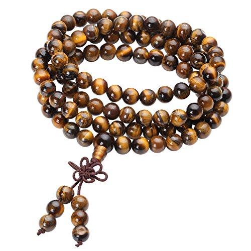 Jovivi 8mm-108 Perles Gemme Oeil de Tigre Perles Naturels Collier OU Bracelet Multi-Cercles Tibétain Bouddhiste Buddha Mala Chinois Élastique Homme,Femme