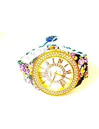 Sami RSM-77941-5 Reloj de Pulsera de Mujer Corona Cristal Correa Azul Flowers Print …