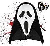 TK Gruppe Timo Klingler 1x Máscara Espeluznante de Zombies Negros para Halloween Scream como Disfraz para niños, Mujeres y Hombres