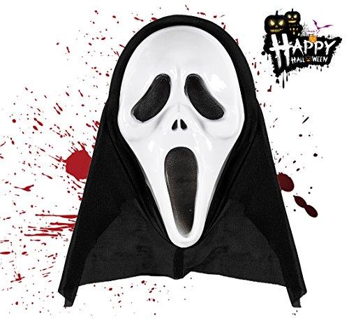 TK Gruppe Timo Klingler 1x Halloween Gruselige schwarz Zombie Maske Scream ALS Kostüm für Kinder, Herren und ()