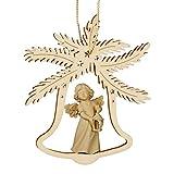 Christbaumschmuck Weihnachtsbaumanhänger Glocke mit Engel, Holz natur, Südtirol, 9cm