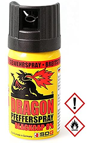 "SDG Pfefferspray Dragon ""BlackCap"", Breitstrahl, 40 ml"
