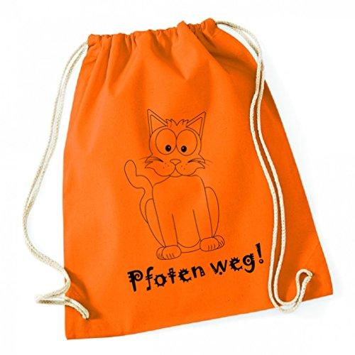 Turnbeutel freche Katze Pfoten weg Hipster Baumwolle Tagesrucksack Jutebeutel Gym Bag orange lustig Damen Herren und - Freche Katze Kostüm
