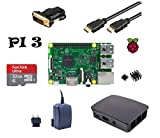 Raspberry Pi 3 Model B Starter Kit UK Version (5) Gehäuse / 2,5 A Netzteil / 32GB Speicherkarte Class10 / HDMI Kabel mit Ethernet / DVI Adapter / 2er Set Kühlkörper