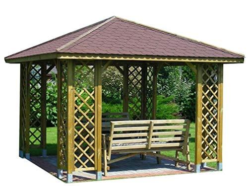 Stan-Wood GARTENLAUBE PAVILLON HOLZPAVILLON MIT HOLZDACH 3m x 3m (Außenmaß 3.45m) Pfostenstärke: 9 x 9 cm ! HÖHE QUALITÄT