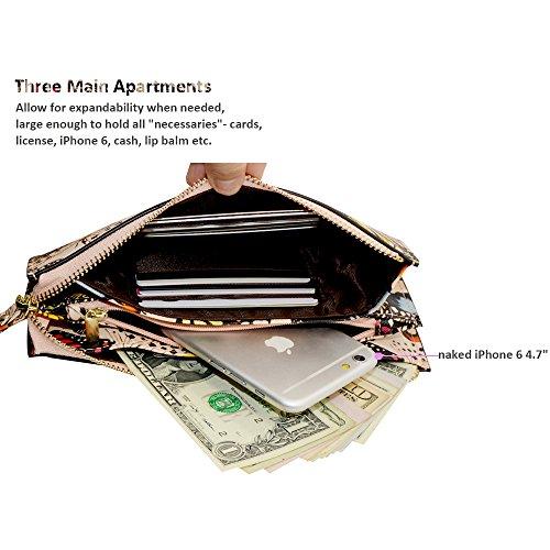 Befen pelle morbida Smartphone Zipper Wallet Organizer con il supporto della carta di credito / tasca contanti / Wristlet- [Fino a 6 x 3.1 * 0.3 pollici del cellulare] Black Flying Butterfly