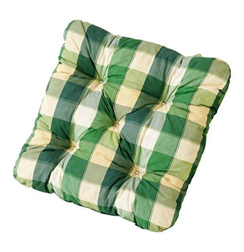 Ambientehome 2er Set Sitzkissen Sessel Evje, kariert grün, ca 50 x 50 x 8 cm, Polsterauflage
