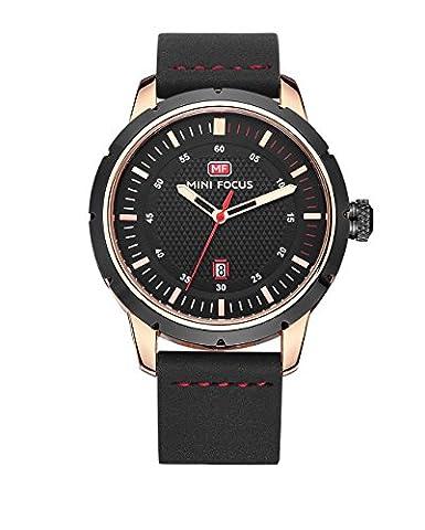 grand cadran noir classique mode casual business noir en cuir véritable montre-bracelet hommes sangle avec rose vitrine calendrier date métal or montre à quartz