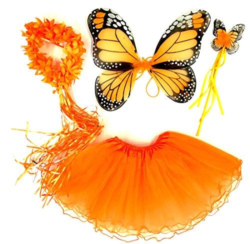 Tante Tina - Schmetterling Kostüm für Mädchen - 4-teiliges Set - Feenflügel / Schmetterlingsflügel Verkleiden - Monarchfalter - Orange Schmetterling Kostüm