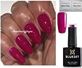 Bluesky Neon 13 Blackcurrant Dark Pink Raspberry Gel-Nagellack, UV-LED, 10 ml und 2 Luvlinail Glanztücher
